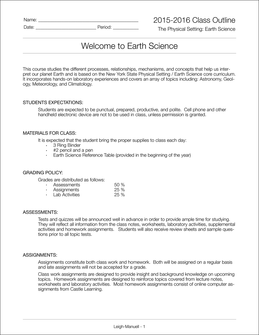 Printables Earth Science Review Worksheets mr leigh manuells earth science class welcome to science
